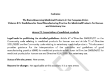 Draft EU GMP Annex 21: Importation issued for consultation
